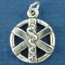 Medical Symbol on Sterling Silver Disk Charm Pendant for Doctors and Nurses