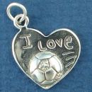 Soccer on Heart with I Love Word Phrase Sterling Silver Charm Pendant