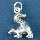 Skunk with Tail Raised 3D Sterling Silver Charm Pendant
