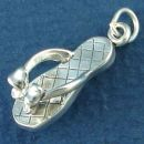 Ladies Beach Sandal Charm with Bow Accent 3D Sterling Silver Pendant