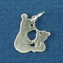 Mother and Baby Kissing Bear Charm Sterling Silver Pendant