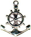 Anchor with Ship's Wheel Nautical 3D Sterling Silver Charm Pendant