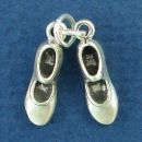 Dance Pair of Tap Shoes 3D Sterling Silver Charm Pendant