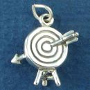 Archery Sports Target with Arrow in the Bulls eye 3D Sterling Silver Charm Pendant