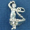 Dance, Flamenco  Dancer in Flowing Dress 3D Sterling Silver Charm Pendant