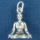 Yoga, Woman in Setting Pose 3D Sterling Silver Charm Pendant