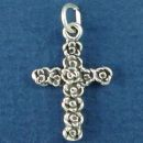 Cross of Rose Bud Sterling Silver Flowers, Christian Charm Pendant