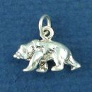 Brown Bear Charm Sterling Silver Charm Pendant Small 3D