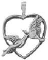Heart with Kissing Birds Sterling Silver Charm Pendant