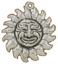 Sun Charm with Face Large Sterling Silver Pendant