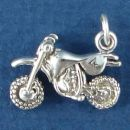 Motocross Small 3D MX Dirt Bike Sterling Silver Charm Pendant