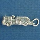 Occupation Fireman's Fire Engine 3D Sterling Silver Charm Pendant