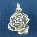 Flower Large Rose Bud 3D Sterling Silver Charm Pendant