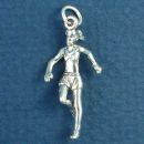 Jogger Running a Marathon Female 3D Sports Sterling Silver Charm Pendant