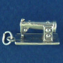 Sewing Machine 3D Sterling Silver Charm Pendant