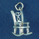 Rocking Chair 3D Sterling Silver Charm Pendant