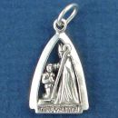 Religious Christian Confirmation Charm Pendant with Bishop and Child in Sterling Silver