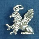 Griffin a Monster from Mythology with the Head and Wings of an Eagle and Body of a Lion 3D Sterling Silver Charm Pendant