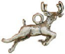 Deer Charm Leaping 3D Sterling Silver Pendant