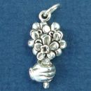 Wedding Flower Girl Bouque Sterling Silver Charm Pendant