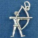 Archer with Drawn Bow and Arrow 3D Sterling Silver Charm Pendant