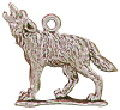 Wolf Charm Howling 3D Sterling Silver Pendant