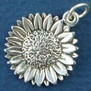 Flower: Sunflower Sterling Silver Charm Pendant
