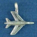 Airplane Charm Sterling Silver Pendant Military Jet 3D