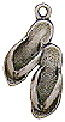 Beach Sandal Charm Sterling Silver 3D for Bracelet or Necklace Pendant