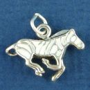 Zebra Running with White Enamel Accents 3D Sterling Silver Charm Pendant
