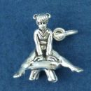 Gymnast Girl on Pommel Horse 3D Sterling Silver Charm Pendant