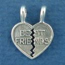 Best Friends Word Phase on Heart that maybe Broken in Two Half's Sterling Silver Charm Pendants