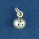 Bowling Ball 3D Sports Sterling Silver Charm Pendant