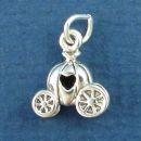 Cinderella's Pumpkin Carriage with Heart Window 3D Sterling Silver Charm Pendant