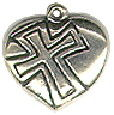 Heart Puffed with Cross Sterling Silver Charm Pendant