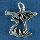 Angel Outline Blowing a Horn Sterling Silver Charm Pendant