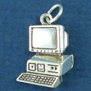Computer PC System Sterling Silver Charm Pendant