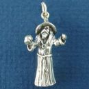 Wizard in Flowing Robe and Hat 3D Sterling Silver Charm Pendant