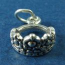 Crown or Tiara of a Queen 3D Sterling Silver Charm Pendant