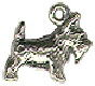 Dog, Scotty 3D Sterling Silver Charm Pendant