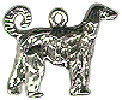 Dog, Afghan Hound 3D Sterling Silver Charm Pendant