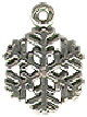Snowflake 3D Winter Sterling Silver Charm for Bracelet or Necklace Pendant
