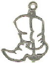 Cowboy Boot Outline Sterling Silver Charm Pendant