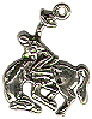 Cowboy on Bucking Bronco Horse 3D Sterling Silver Charm Pendant