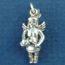 Indian Angel Playing a Drum 3D Sterling Silver Indian Charm Pendant