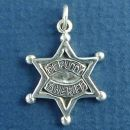 Police, Deputy Sheriff Word Phrase on Six Pointed Star Badge Sterling Silver Charm Pendant