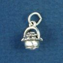 Flowers in Basket 3D Small Sterling Silver Charm Pendant