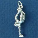 Ice Skater with One Leg in Air Pose 3D Sterling Silver Charm Pendant
