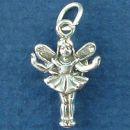 Fairy Fluttering Small 3D Sterling Silver Charm Pendant