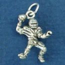 Football Quaterback Passing a Ball 3D Sterling Silver Charm Pendant
